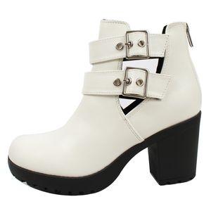 Shoes - $ REDUCED White cutout buckle lug platform block h